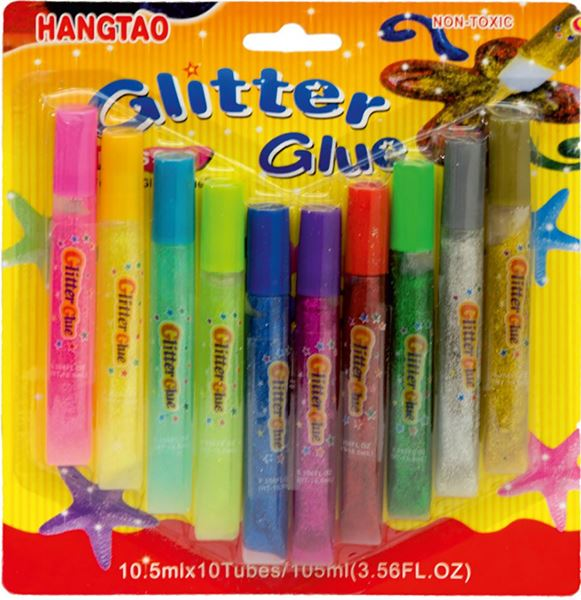Picture of GLITTER glue to decorate - set 10 tube of 10.5 ml
