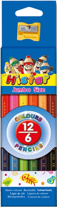 Picture of COLORED PENCIL JUMBO hexagon two-tone 6-12