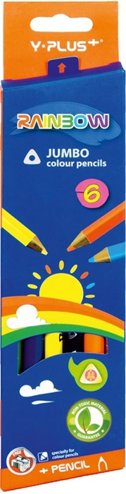 Slika od DRVENE BOJE jumbo + šiljilo triangl 1-6